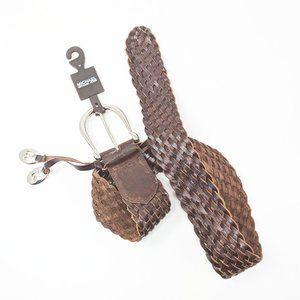 New Michael Kors Brown Leather Braided Belt Medium